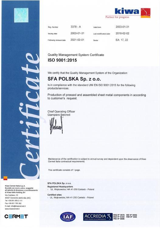 SFA ISO 9001
