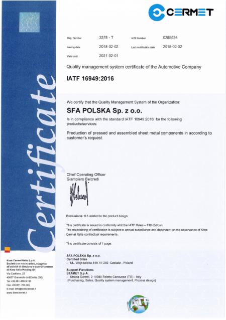 SFA IATF 16949
